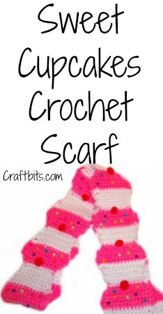 Crochet Scarf: Sweet Cupcakes
