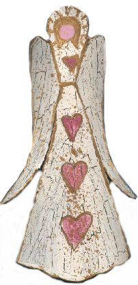 Aged Crackle Angel Tree Ornament