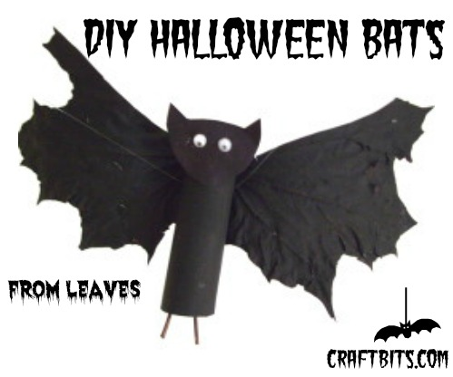 Halloween-Bats-Made-From-Leaves