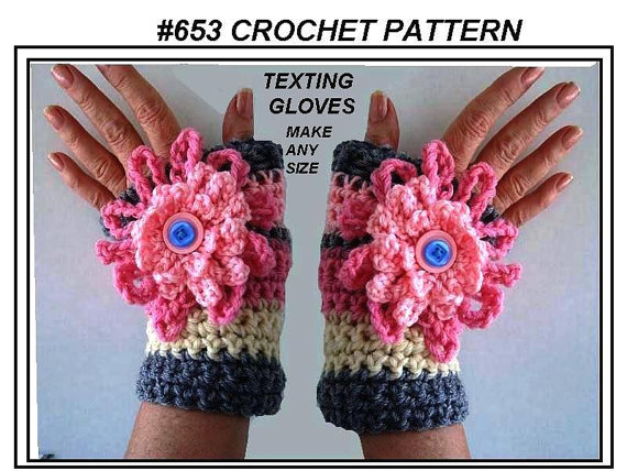 Crochet Fingerless Flower Texting Gloves
