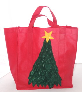 Upcycled Shopping Tote – Festive Tree