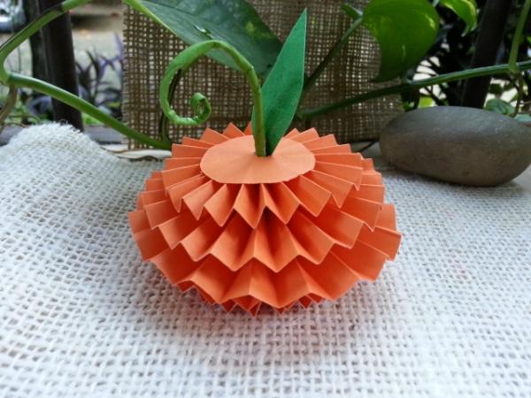 Make Accordion Fold Paper Pumpkin craftbits.com