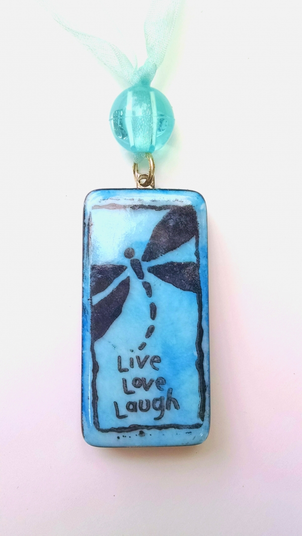 Stamped Domino Tile Pendant Necklace