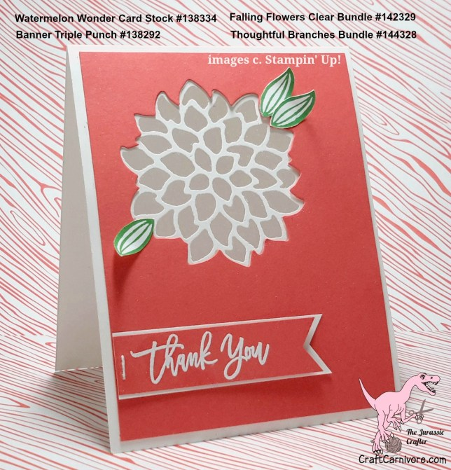 by Amy Hoptay the Jurassic Crafter for the Pals Blog Hop August 2016, thoughtful branches, thank you card, May Flowers Framelits, for more details click through to my blog! #stampinup #craftcarnivore #thoughtfulbranches