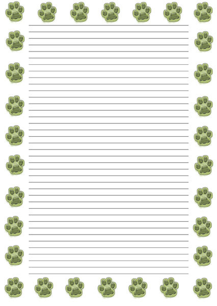 journal paper,writing paper,pawprint - Paw Print Border - Image 2 - print writing paper