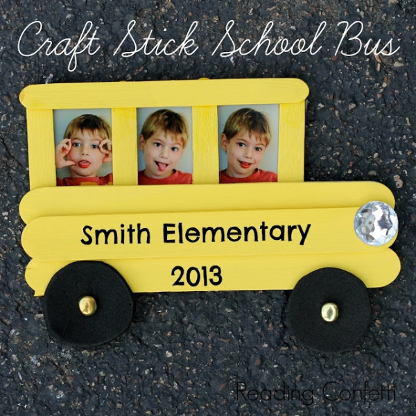 Craft Stick School Bus - Reading Confetti