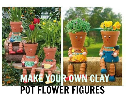 make your own clay pot flower figures craft gossip