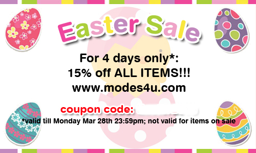 Modes4U Easter Sale Click post to see coupon code