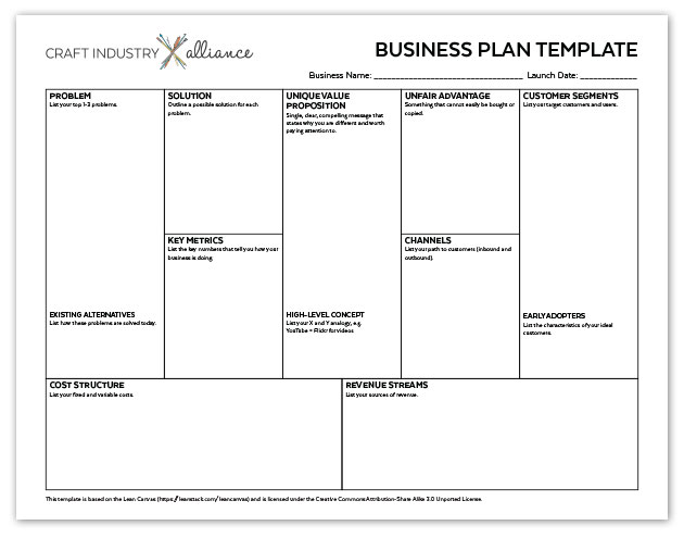Quick and Easy Business Plan Template - Craft Industry Alliance - business plan templates
