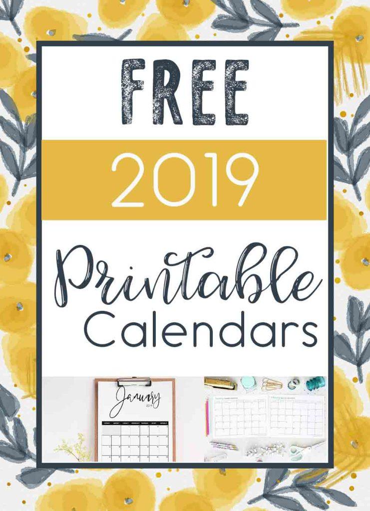 2019 Free Printable Calendars Crafting in the Rain