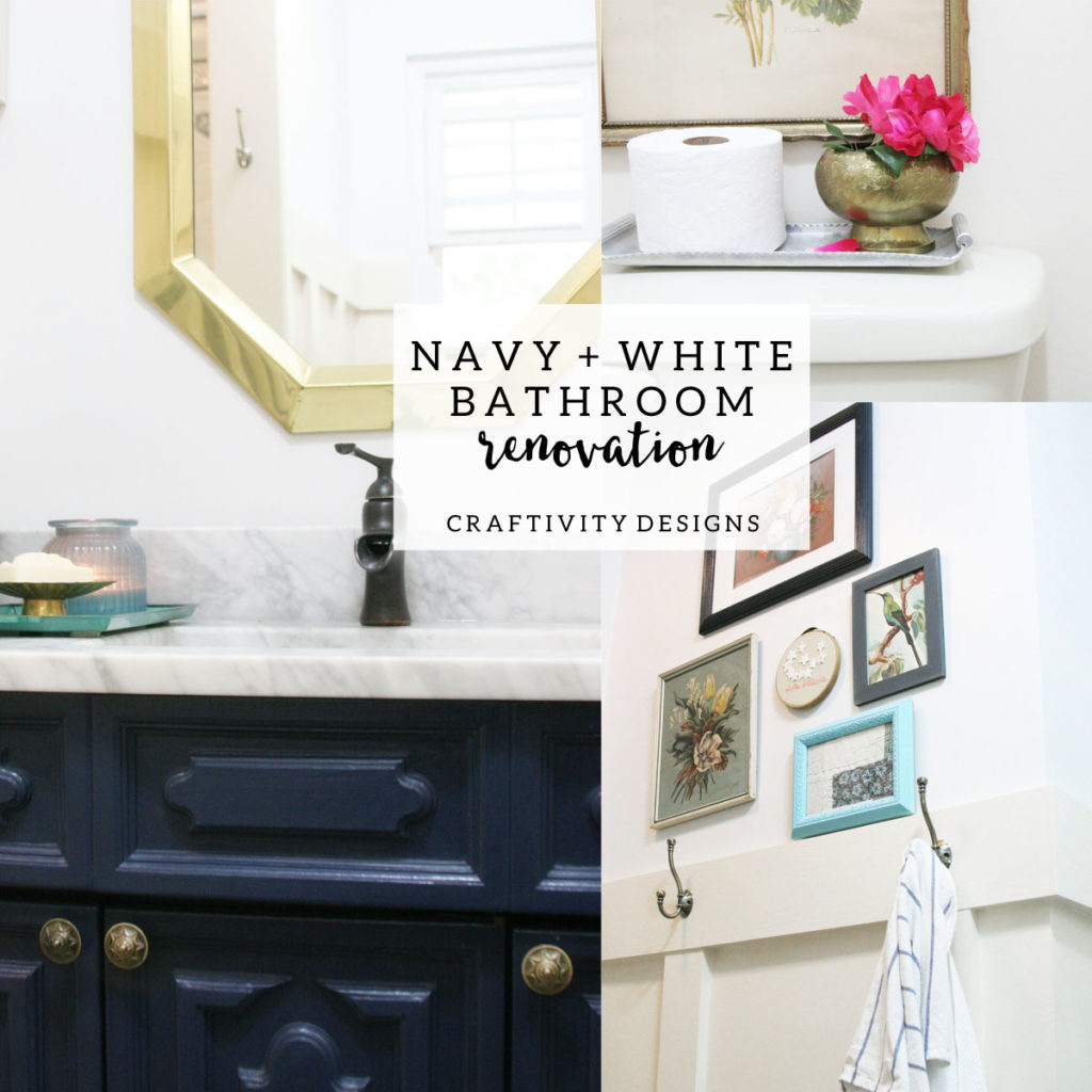 Wall Mirror Vintage Style Navy And White Bathroom Renovation – Craftivity Designs
