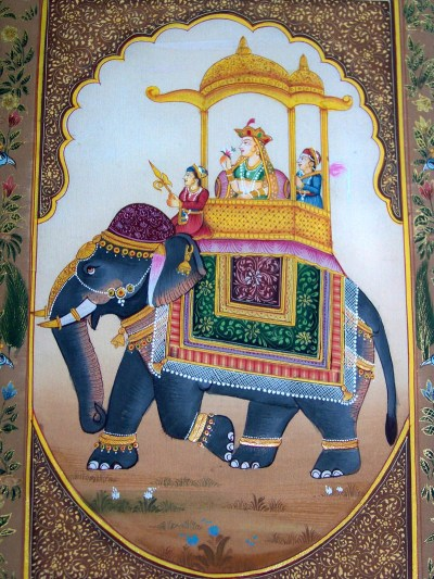 MOGHUL QUEEN PROCESSION SCENE ON ELEPHANT MINIATURE PAINTING FROM INDIA! | eBay