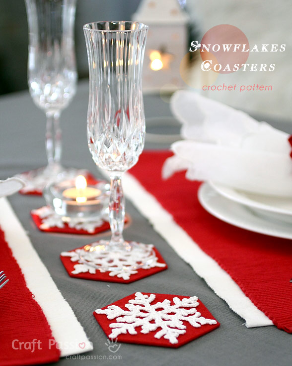 Kerst Tafellaken Snowflakes Coasters - Free Crochet Pattern | Craft Passion