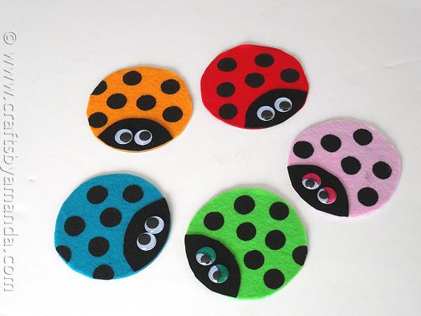 Recycled CD Ladybugs - Crafts by Amanda