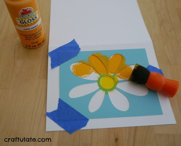 Easy Stencil Cards with Kids - Craftulate