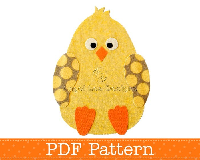 Chicken Applique Template, PDF Pattern, Easter Chick Design, Boy
