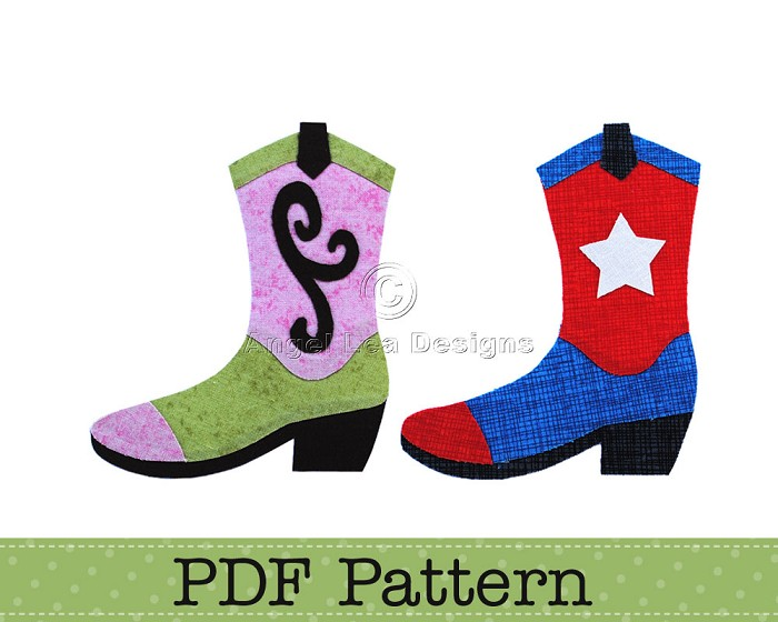 Cowboy Boot and Cowgirl Boots Applique Pattern PDF Template