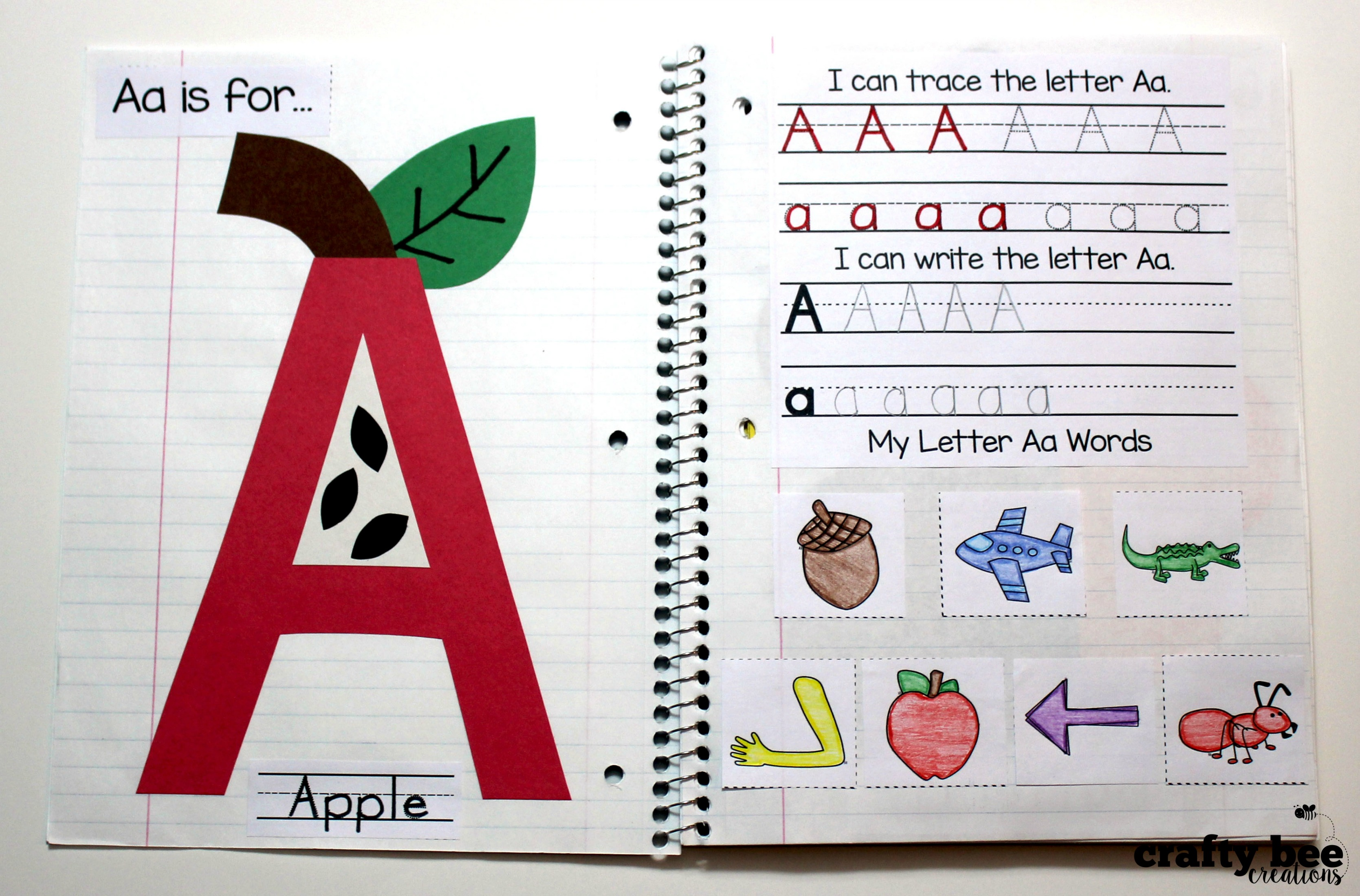 Interactive alphabet notebook for Alphabet letter notebook