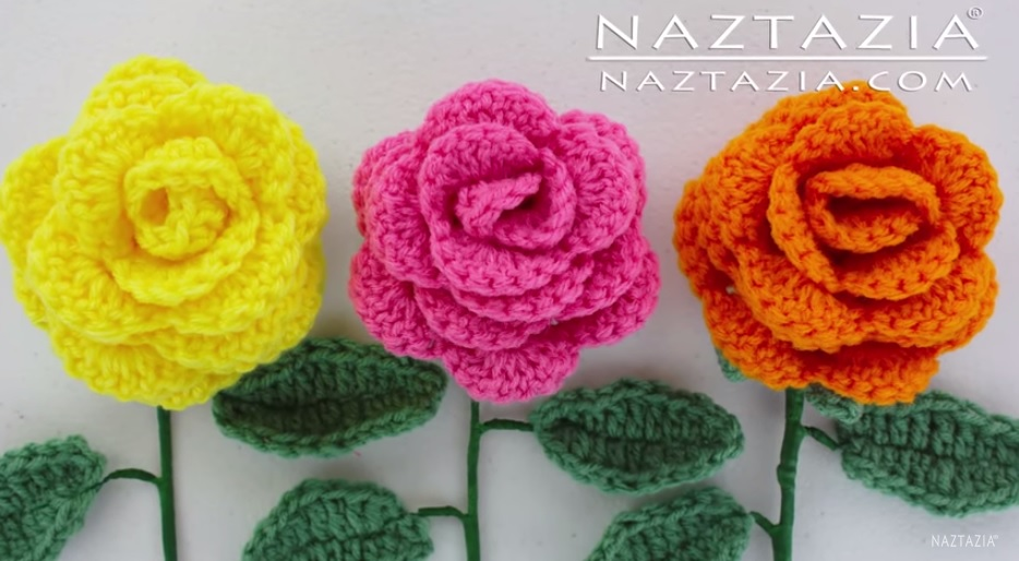 on how to crochet this lovely rose bouquet flowers with leaves
