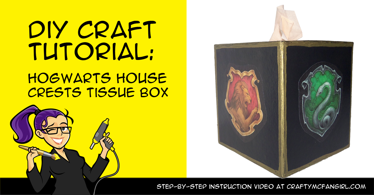 Decorate A Tissue Box With Hogwarts House Crests Crafty
