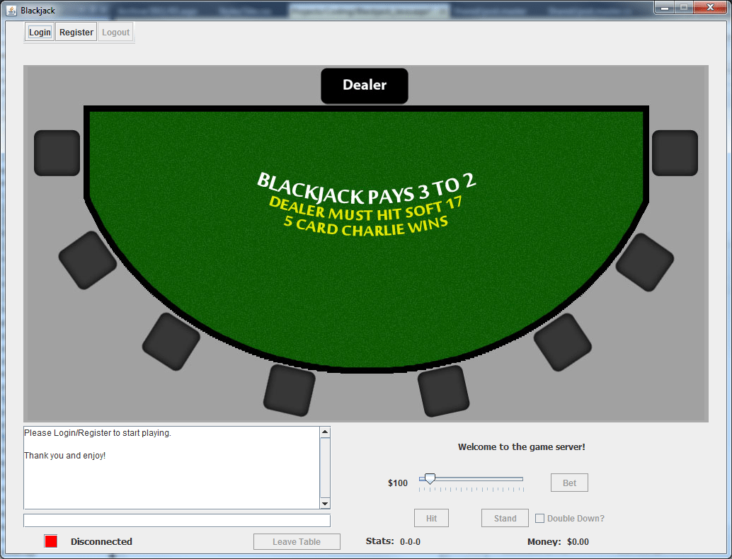 Blackjack Graphical User Interface