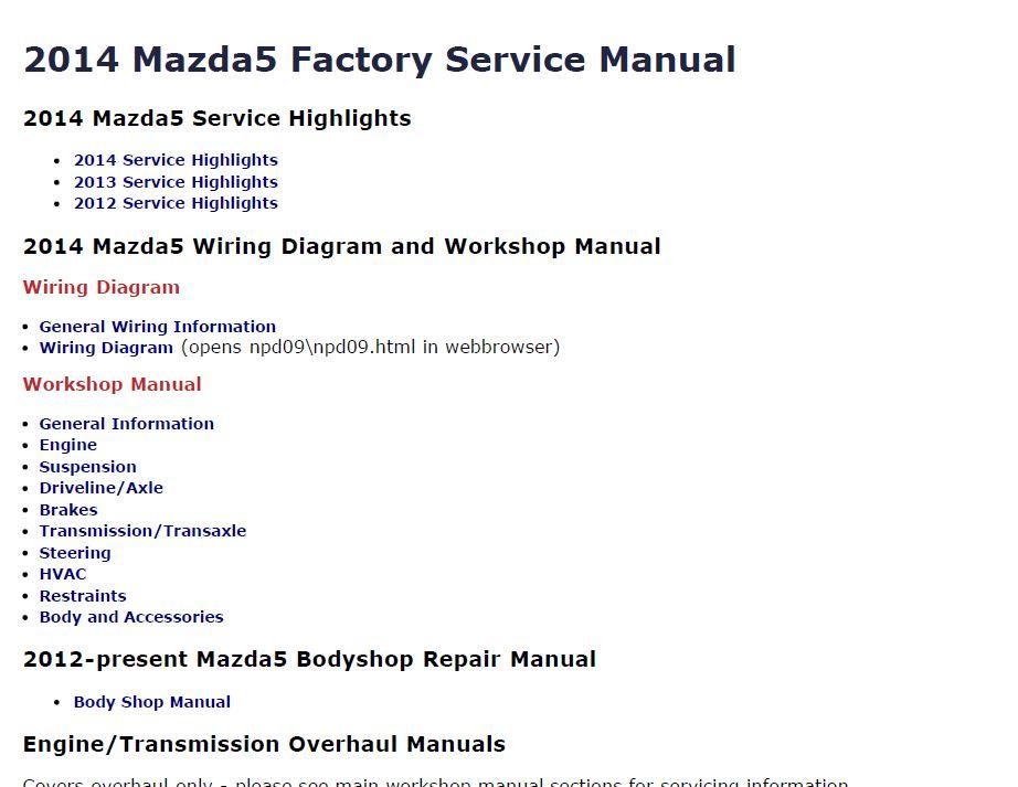 Mazda5 Wiring Diagram Wiring Diagram