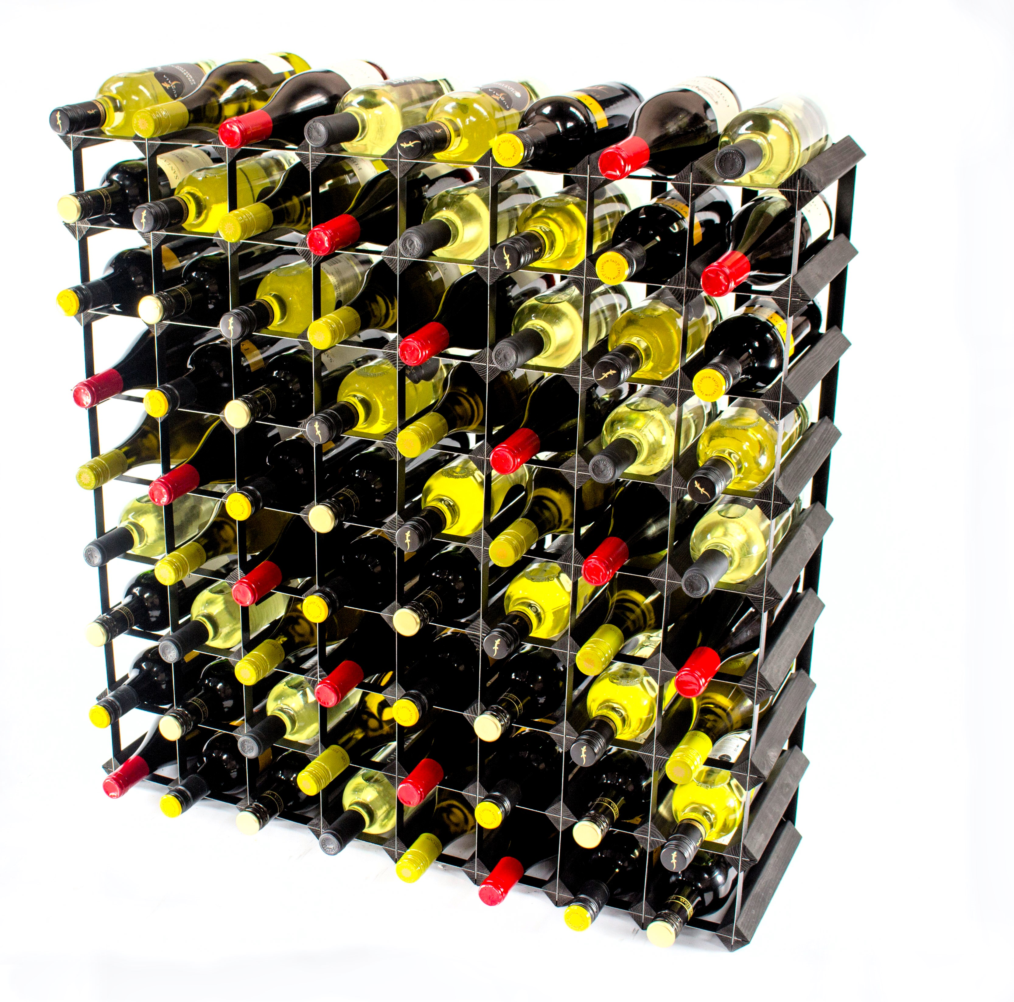 Other Uses For Wine Racks 72 Bottle Black Wood And Black Metal Wine Rack Ready Assembled