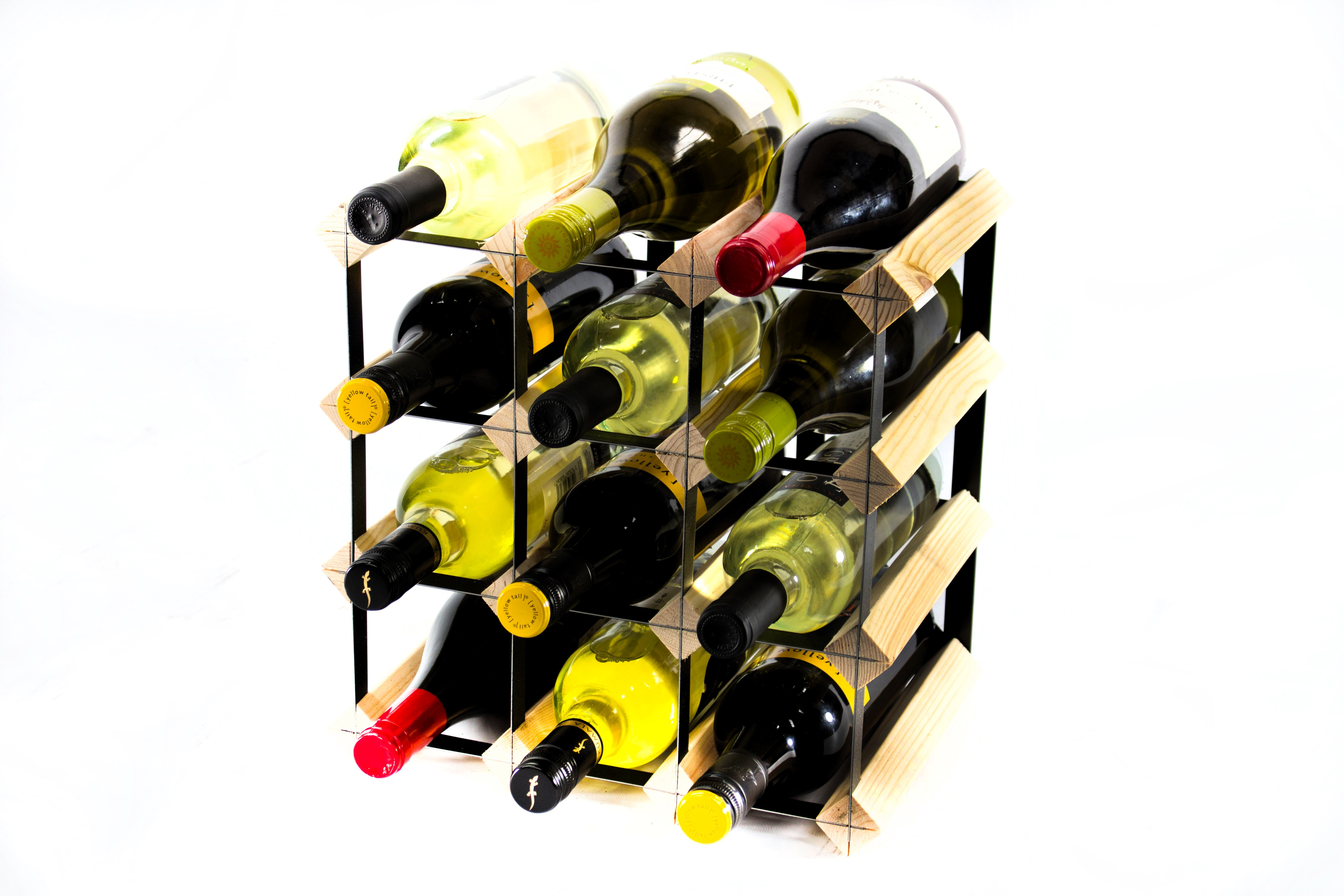 Other Uses For Wine Racks 12 Bottle Pine And Black Metal Wine Rack Ready Assembled