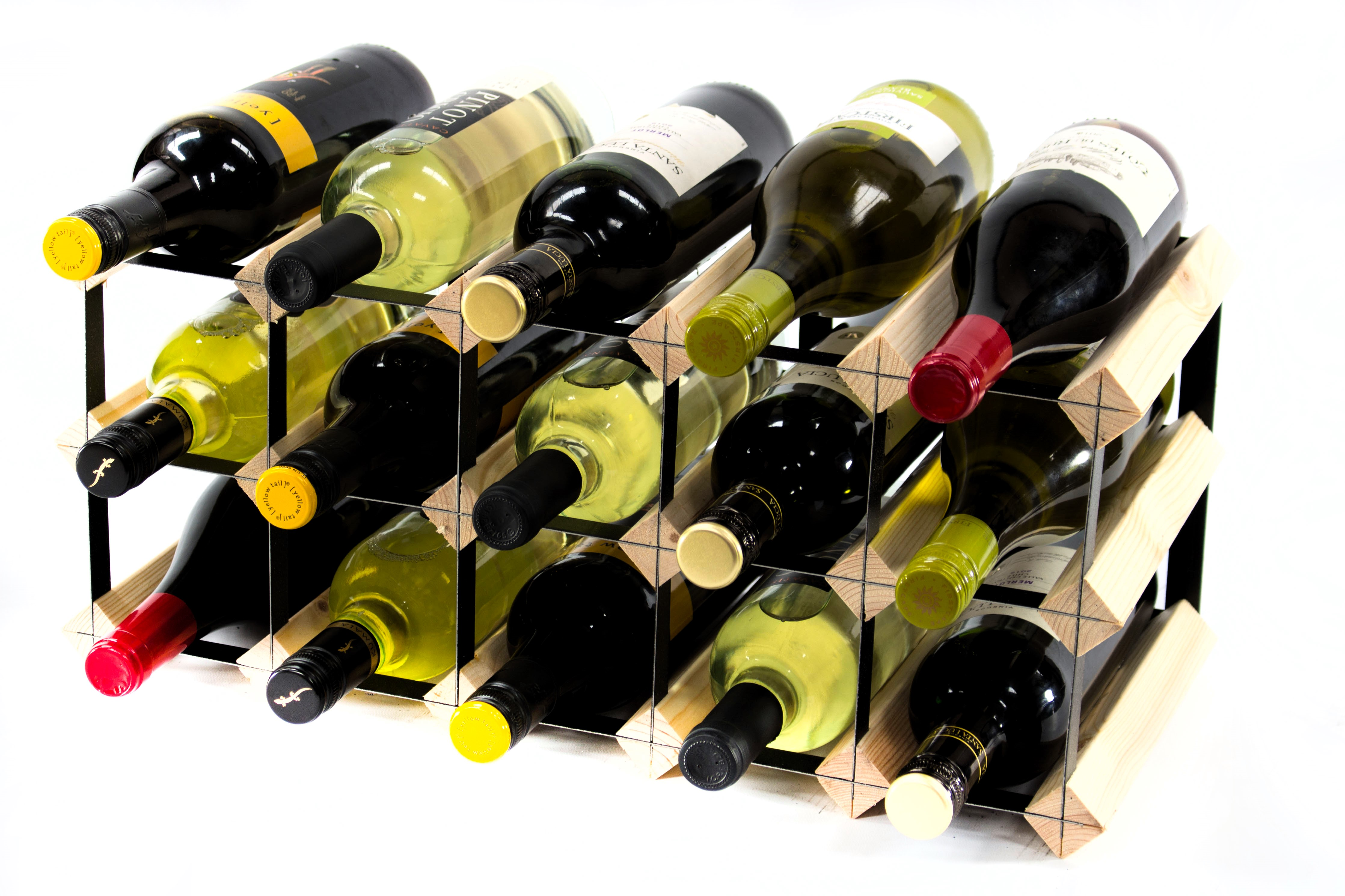 Other Uses For Wine Racks 15 Bottle Pine And Black Metal Wine Rack Ready Made