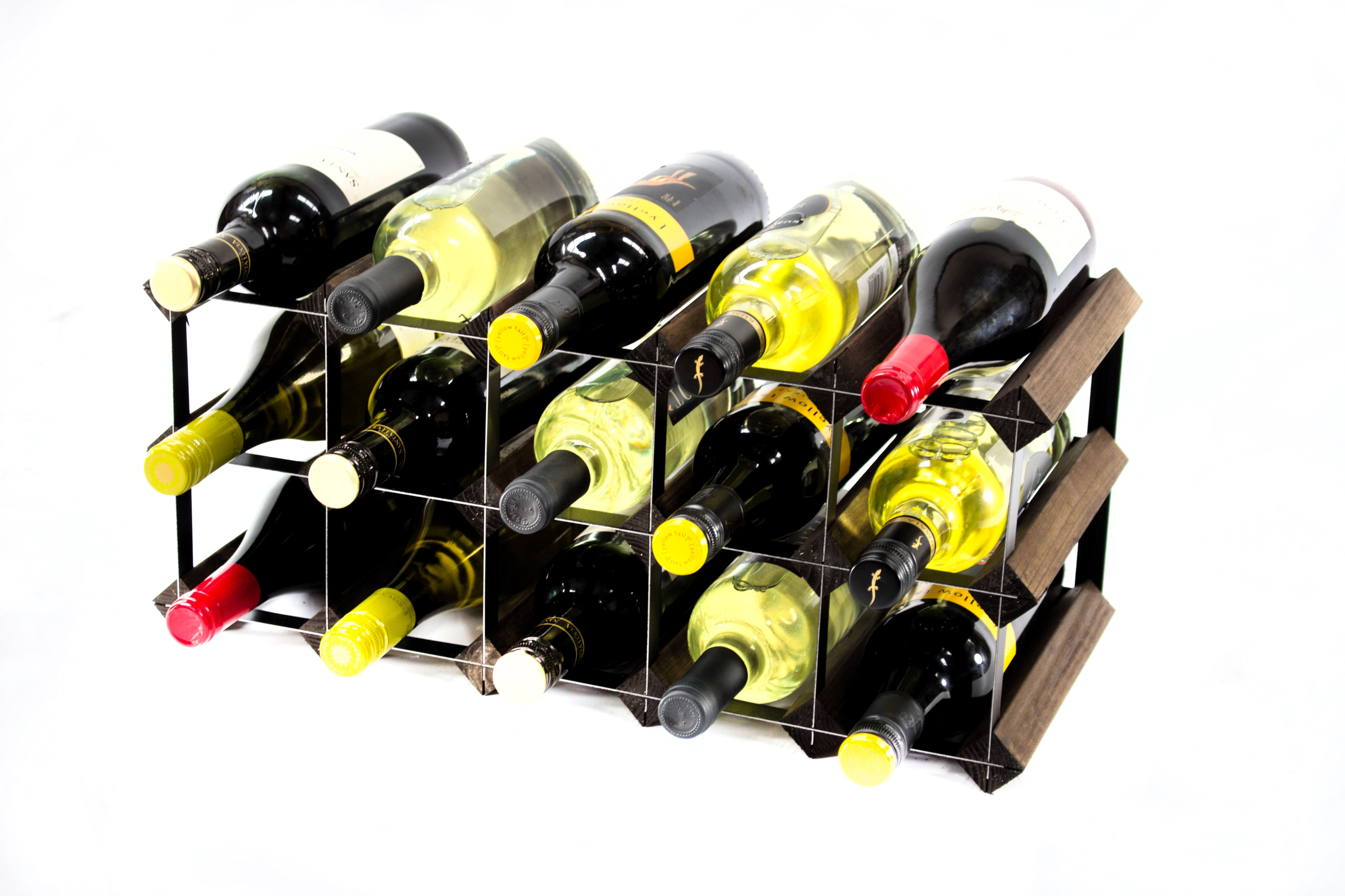 Other Uses For Wine Racks 15 Bottle Dark Oak And Black Metal Wine Rack Ready Assembled