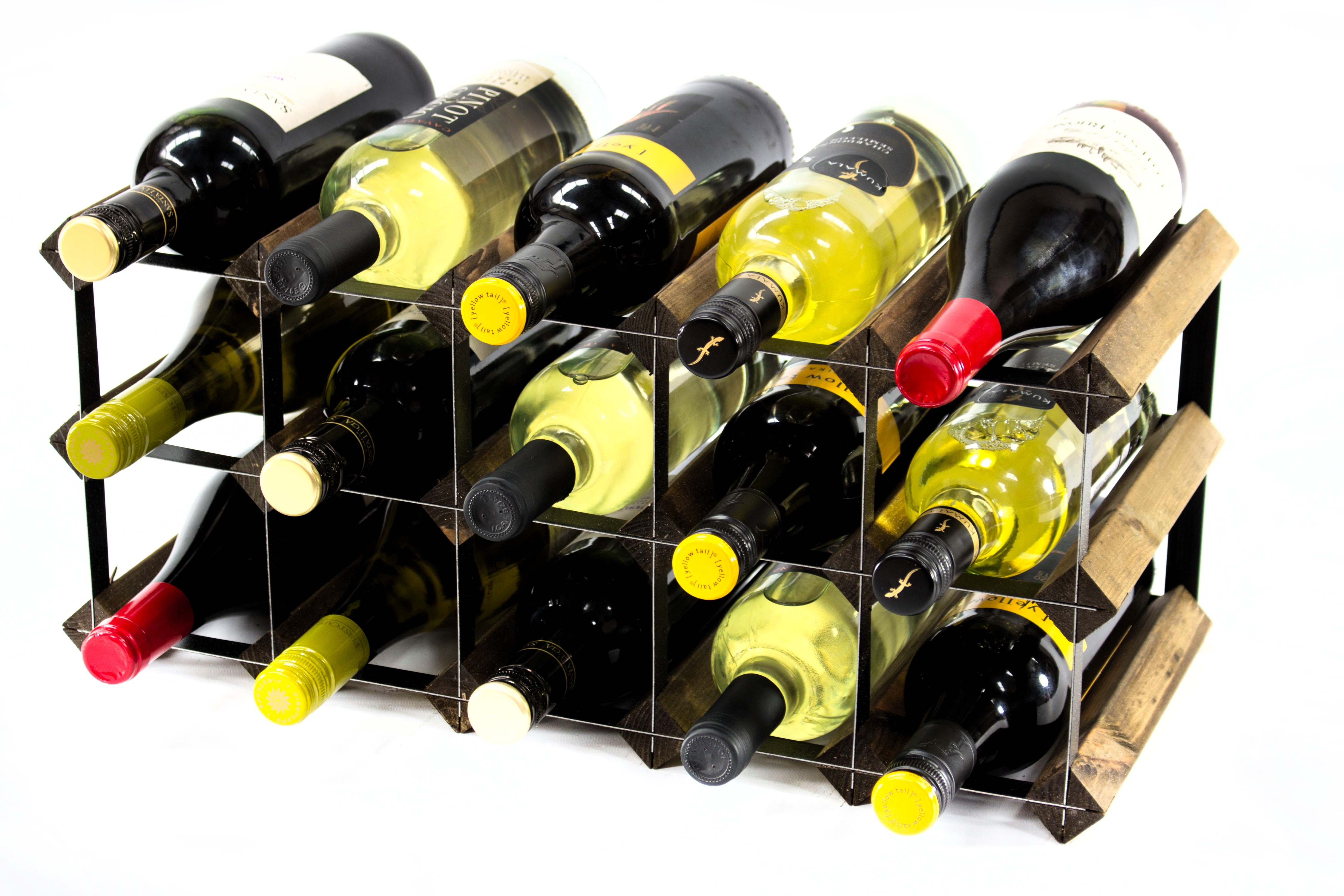 Other Uses For Wine Racks 15 Bottle Walnut And Black Metal Wine Rack Ready Assembled
