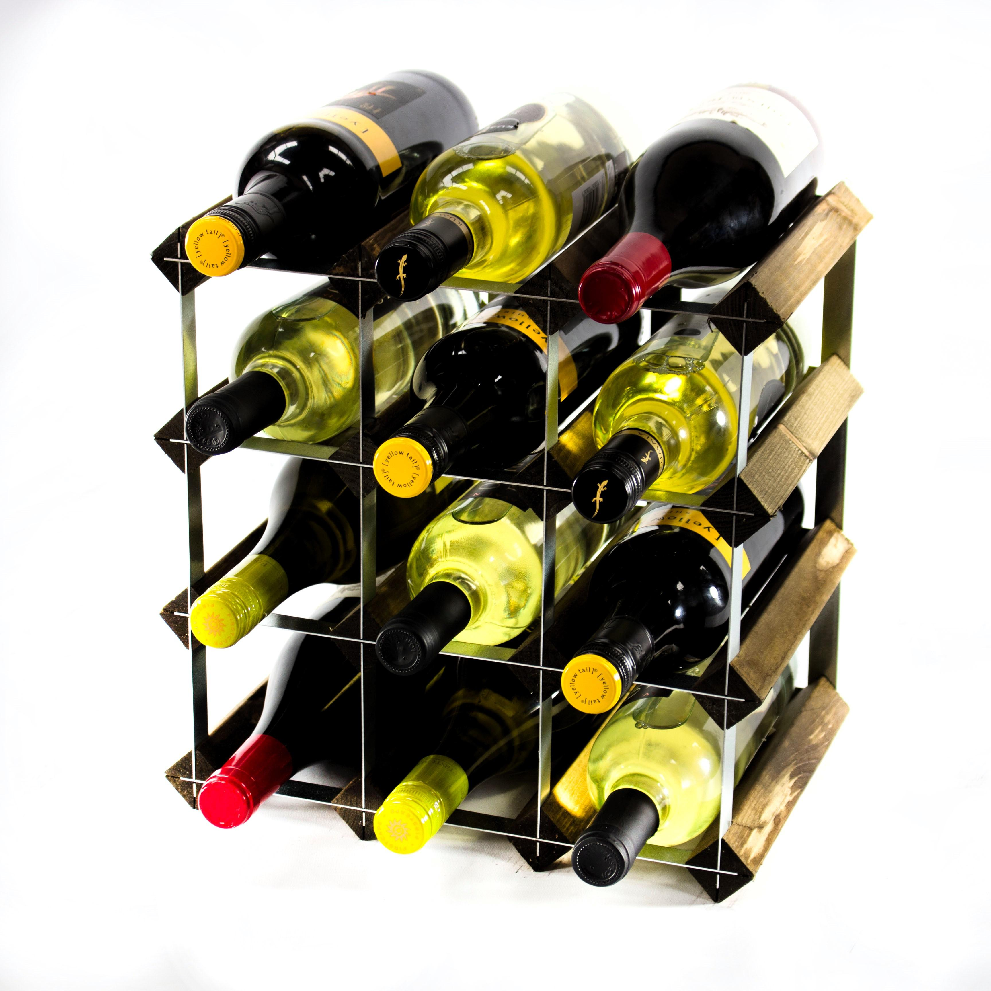 Metal Wine Racks Classic 12 Bottle Dark Oak Stained Wood And Galvanised Metal Wine Rack Ready Assembled