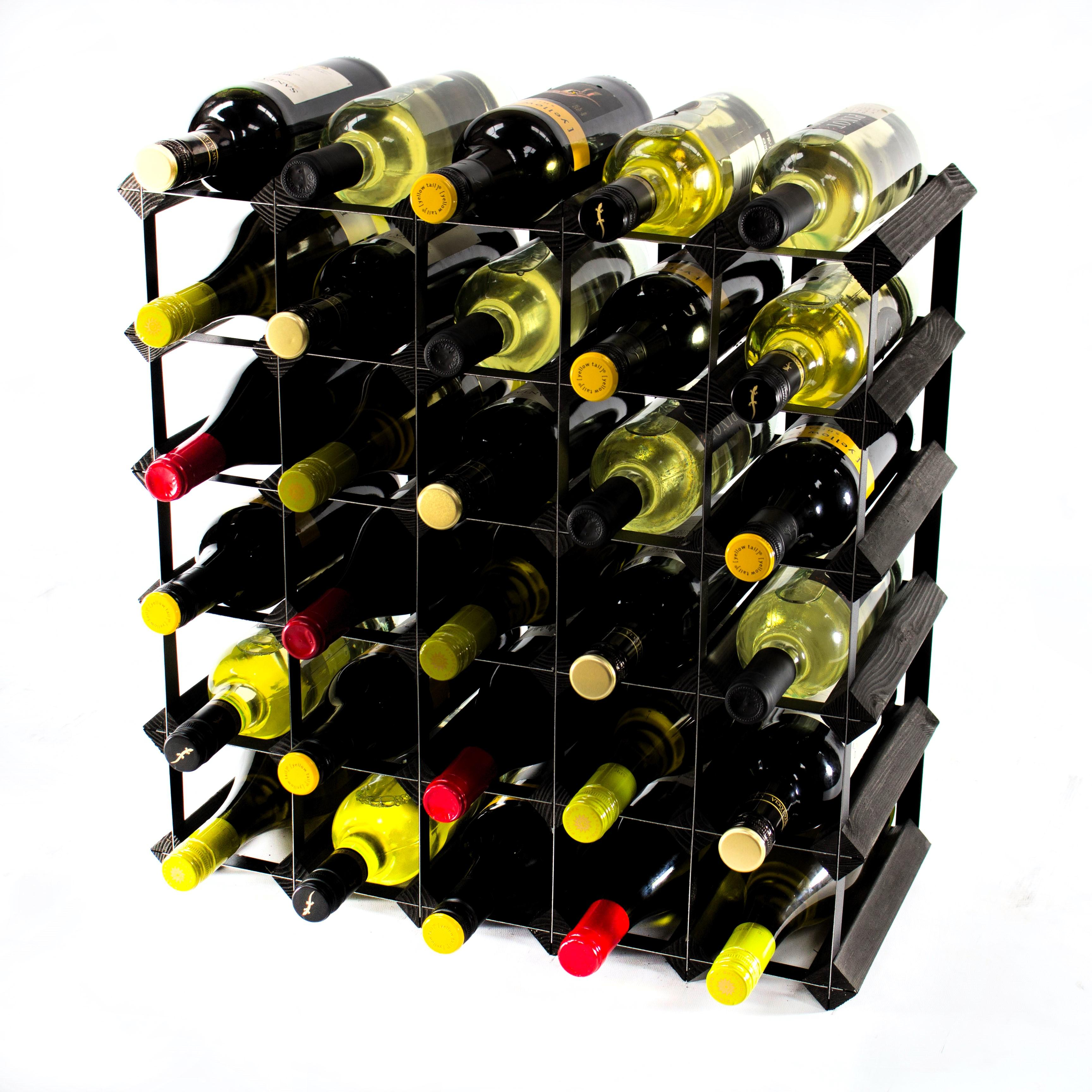 Metal Wine Racks Classic 30 Bottle Black Stained Wood And Black Metal Wine Rack Ready Assembled