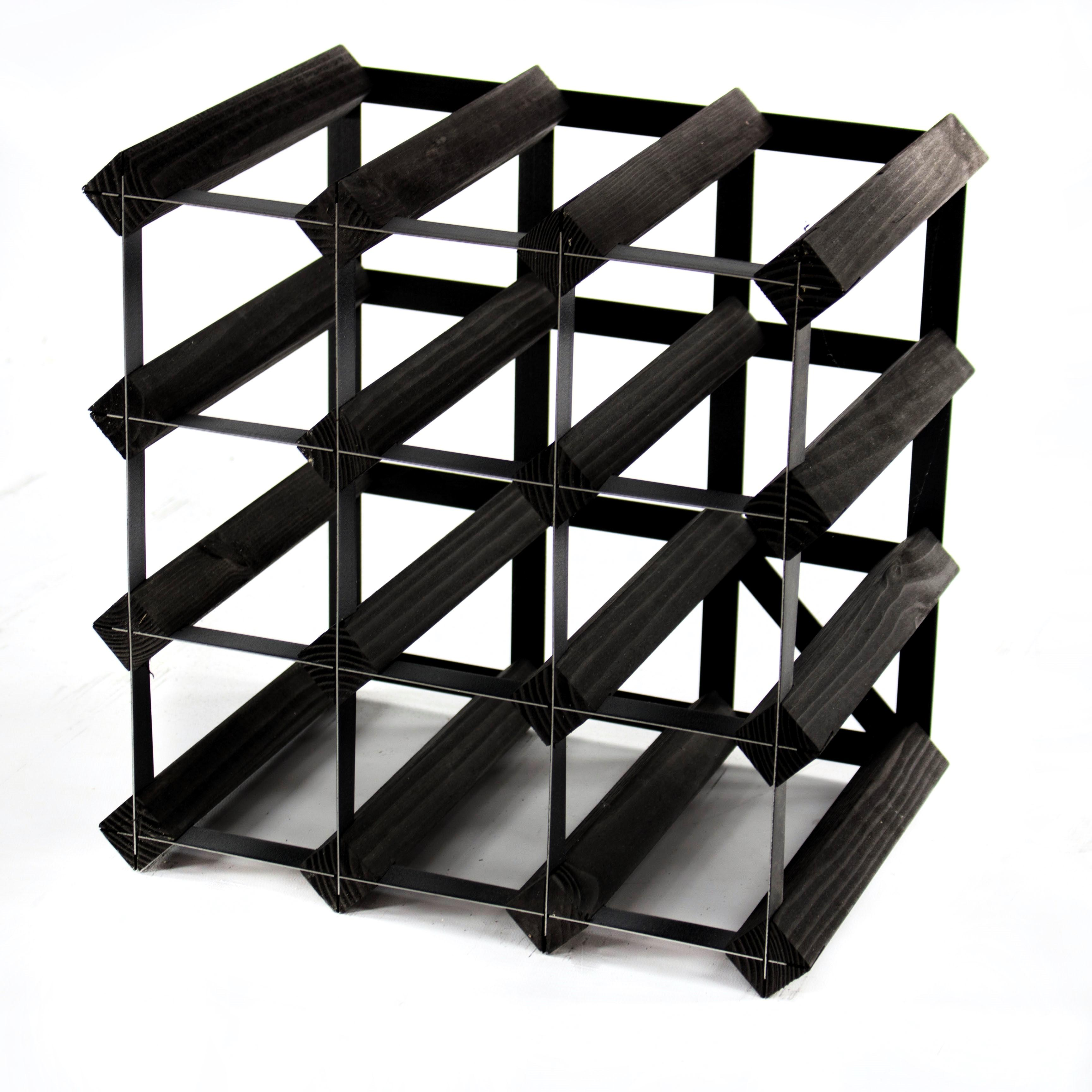 Metal Wine Racks Classic 12 Bottle Black Stained Wood And Black Metal Wine Rack Ready Assembled