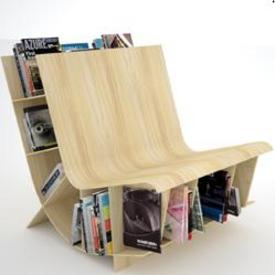 Bench with integrated bookcases boing boing - Staircases with integrated bookshelves ...