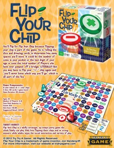 The sell sheet for Flip Your Chip the social game by Jon Vandergriff.