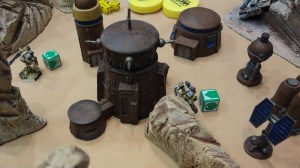 15mm Sci-Fi terrain buildings for Heavy Gear in a Badlands setting.