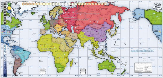 Picture of the 1940 Moral Conflict board game map showing the globe.