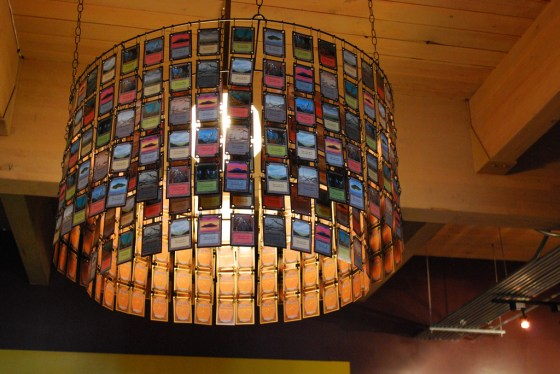 Magic: the Gathering lands are strung together to form a chandelier of cards