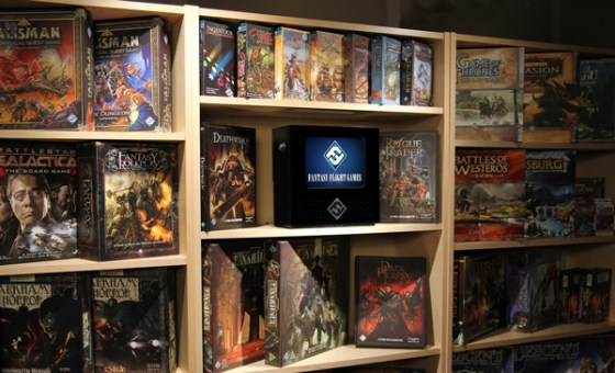 FF Media Center surrounded by Fantasy Flight Games product boxes