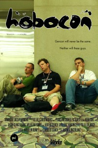 Poster for Hobocon showing three exhausted gamers at Gen Con in Indianapolis