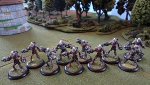 A unit of 10 miniatures for Warmachine arranged in a battle group