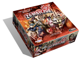 Box artwork for Zombicide featuring Survivors fending off attacking zombies