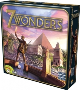 Game box for 7 Wonders showing Colossus of Roades, Pyramids of Ghiza, and other wonders
