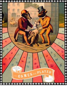 Variant cover for Games We Played showing 1800s cartoon characters wrangling over the American eagle