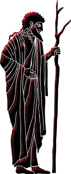 Black and red line art image of Greek Hellas god holding staff Aemoton