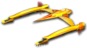 Yellow spaceship from Hellas RPG vaguely W-shaped