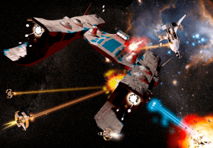 Computer-generated spaceships battle in outspace in Hellas