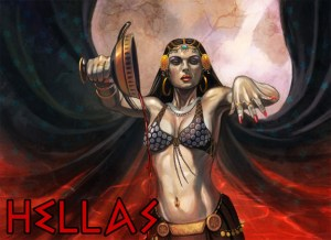 Sorceress woman on cover of Wine Dark Void empties a chalice