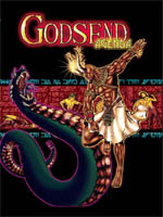 Cover for RPG Godsend Agenda by Khepera Publishing showing god battling snake god
